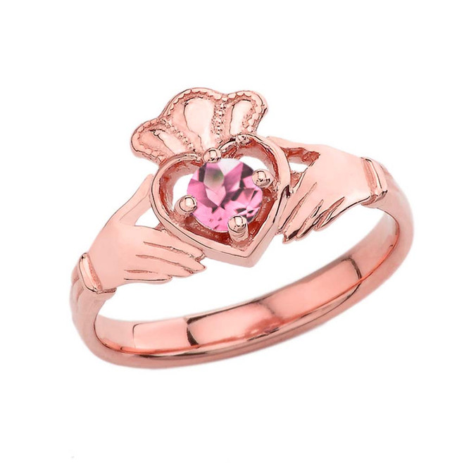 October Birthstone Claddagh with Crown Ring in Rose Gold