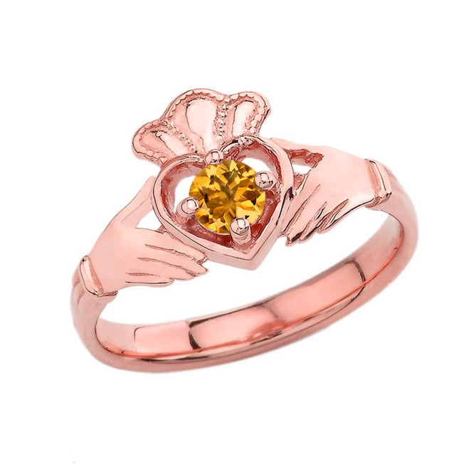 November Birthstone Claddagh with Crown Ring in Rose Gold