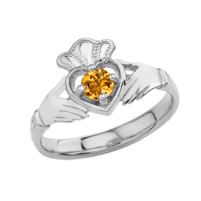 November Birthstone Claddagh with Crown Ring in White Gold