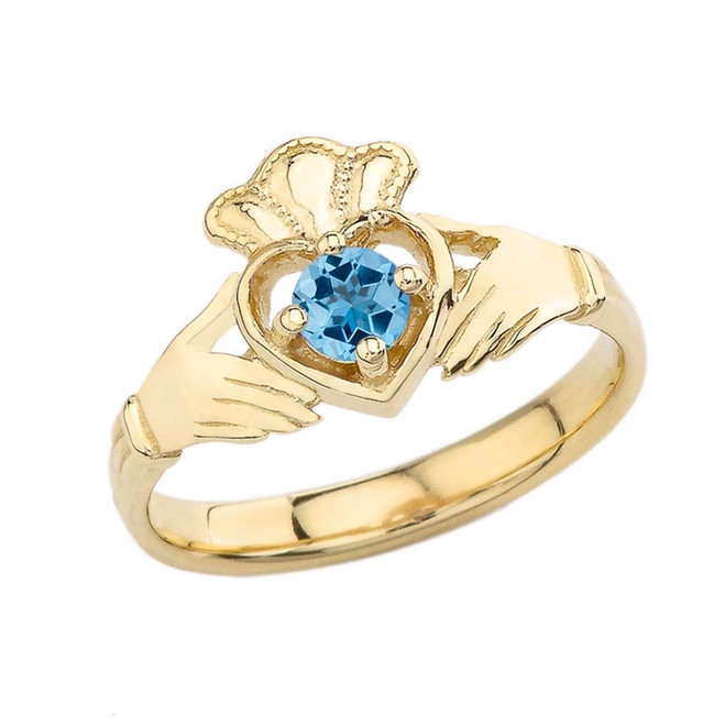 December Birthstone Claddagh with Crown Ring in Yellow Gold
