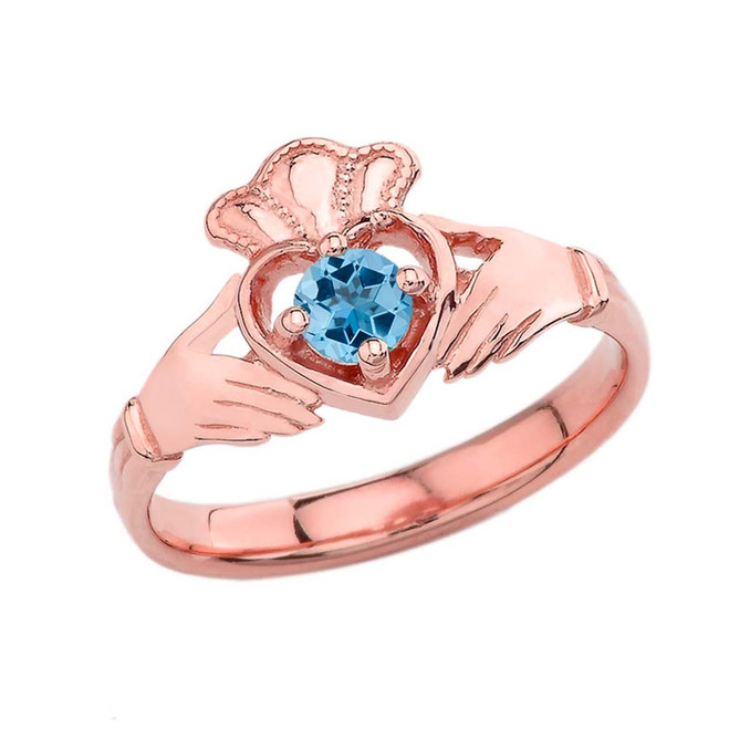 December Birthstone Claddagh with Crown Ring in Rose Gold