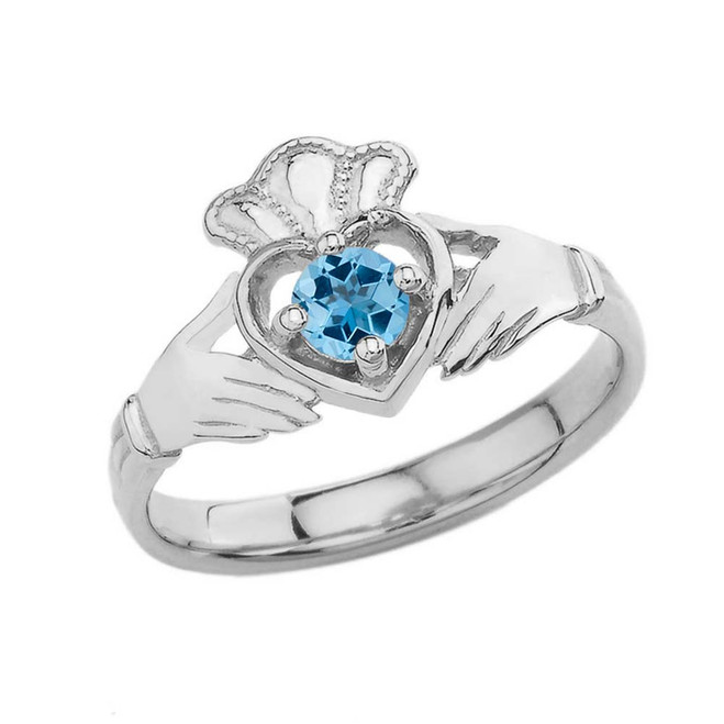 December Birthstone Claddagh with Crown Ring in White Gold