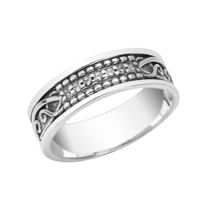 Diamond Celtic Knot 7 ½ mm. Vintage Wedding Band in Sterling Silver