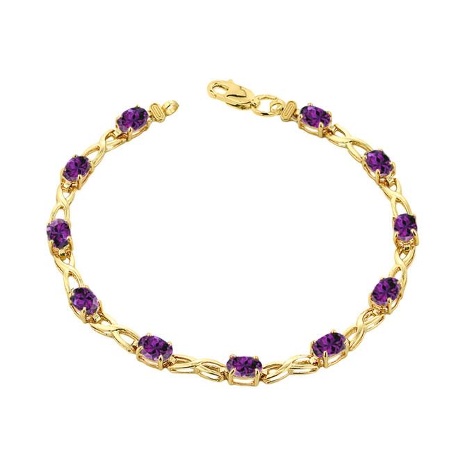 Amethyst Infinity Bracelet in Yellow Gold