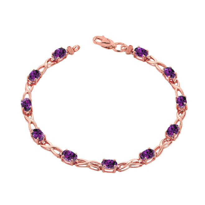 Amethyst Infinity Bracelet in Rose  Gold