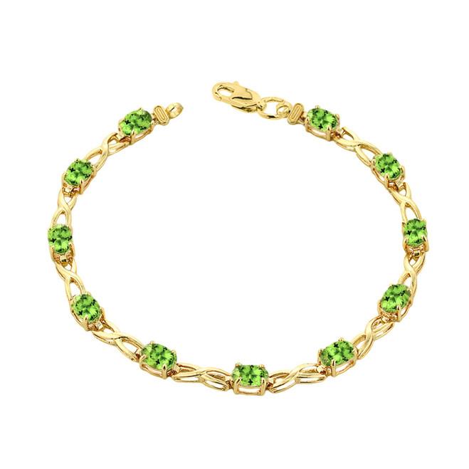 Peridot Infinity Bracelet in Yellow Gold