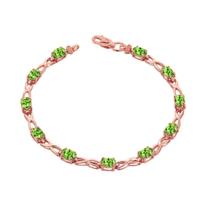 Peridot Infinity Bracelet in Rose Gold