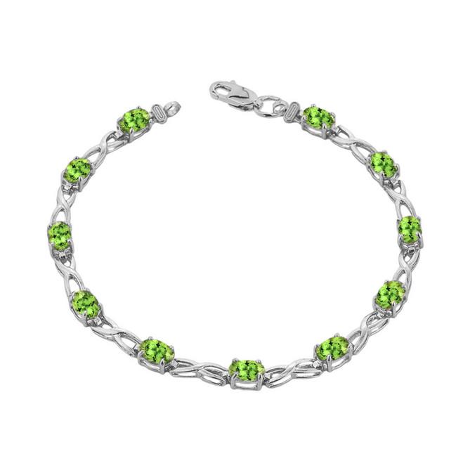 Peridot Infinity Bracelet in Sterling Silver
