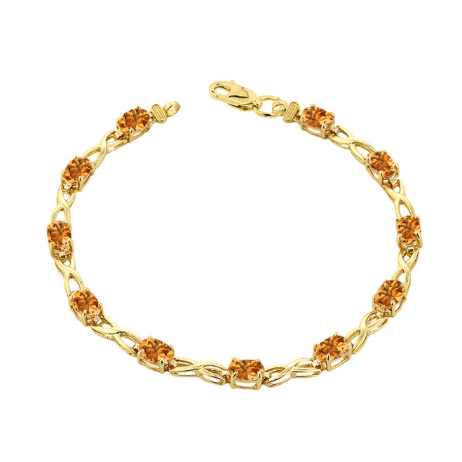 Citrine Infinity Bracelet in Yellow Gold