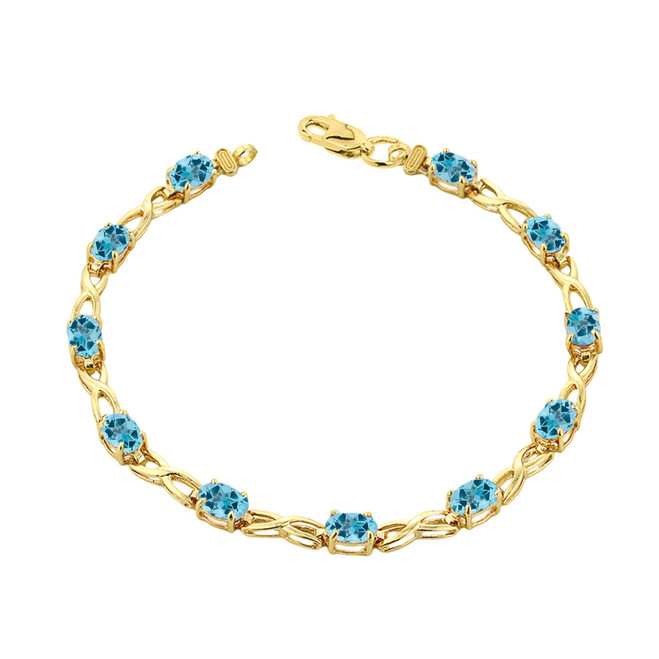 Blue Topaz  Infinity Bracelet in Yellow Gold