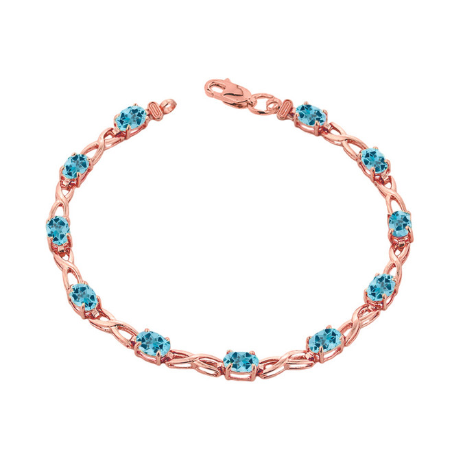 Blue Topaz  Infinity Bracelet in Rose Gold