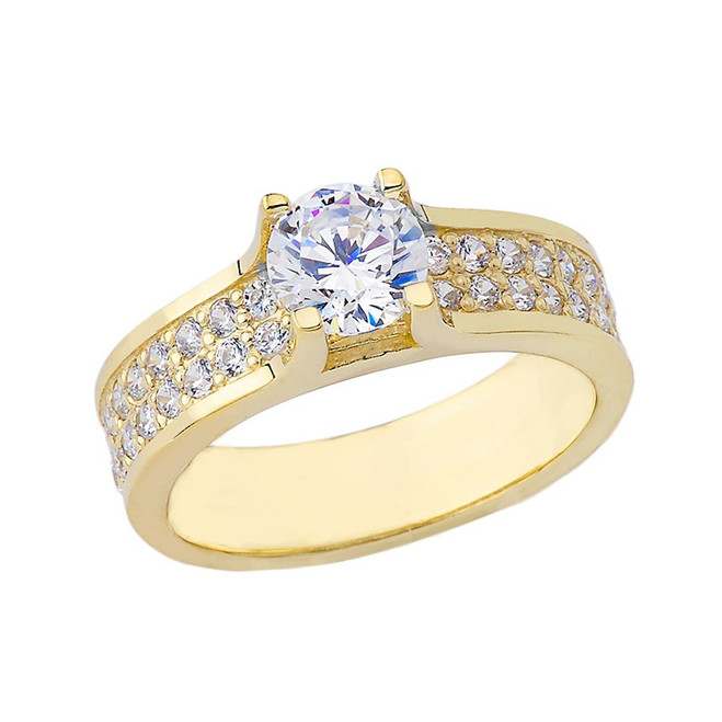 Bold-Chic Diamond Engagement Ring in Yellow Gold
