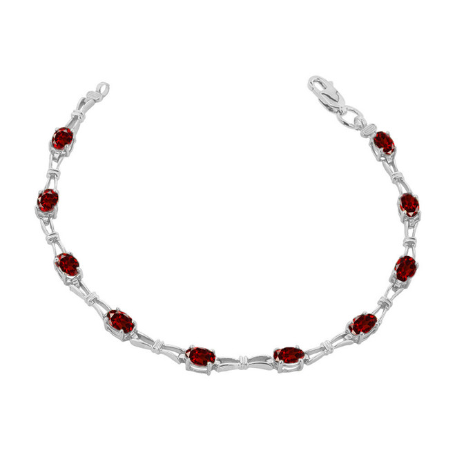 Garnet Gemstone Tennis Bracelet in Sterling Silver