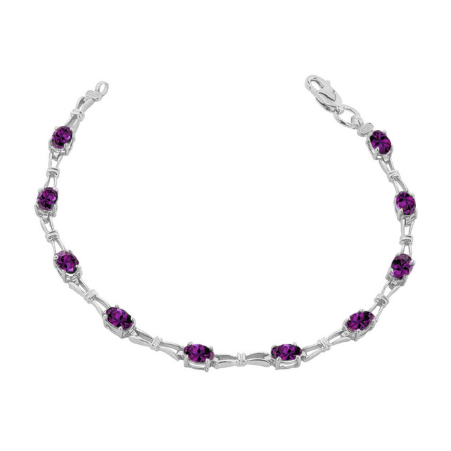 Amethyst Gemstone Tennis Bracelet in White Gold