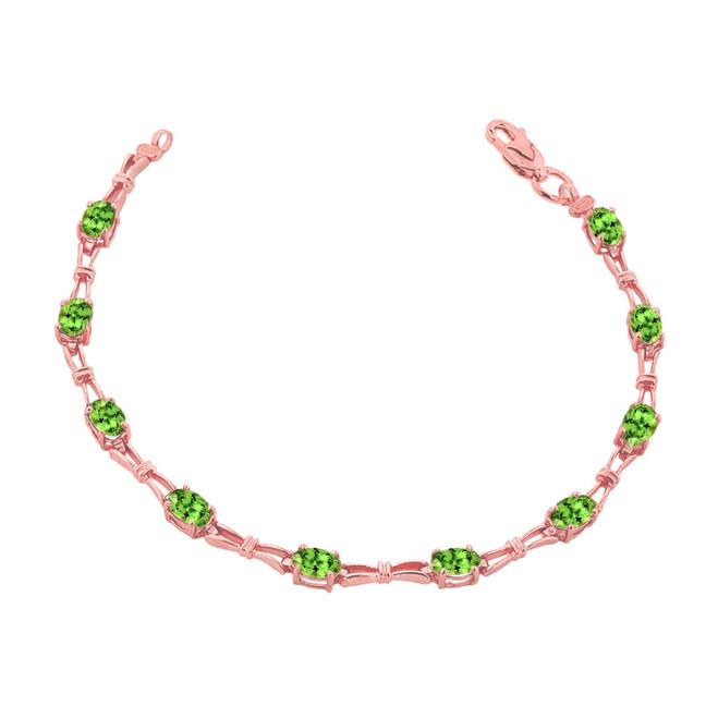 Peridot Gemstone Tennis Bracelet in Rose Gold
