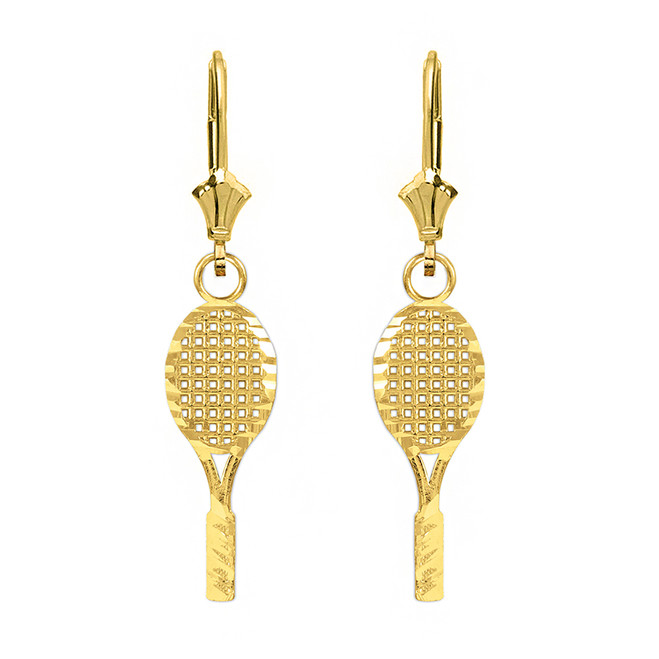 Solid Yellow Gold Sparkle Cut Tennis Racket Dangle Drop Lever Back  Earring Set
