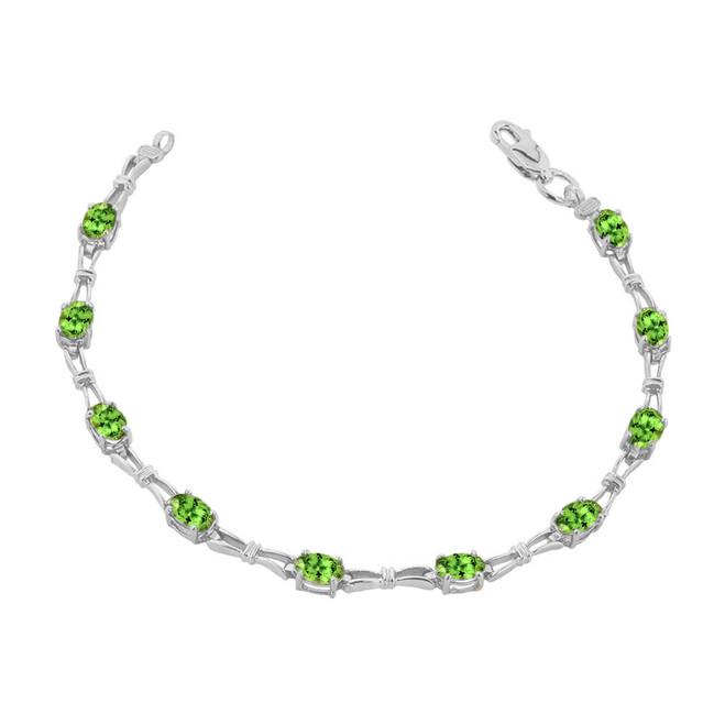 Peridot Gemstone Tennis Bracelet in Sterling Silver