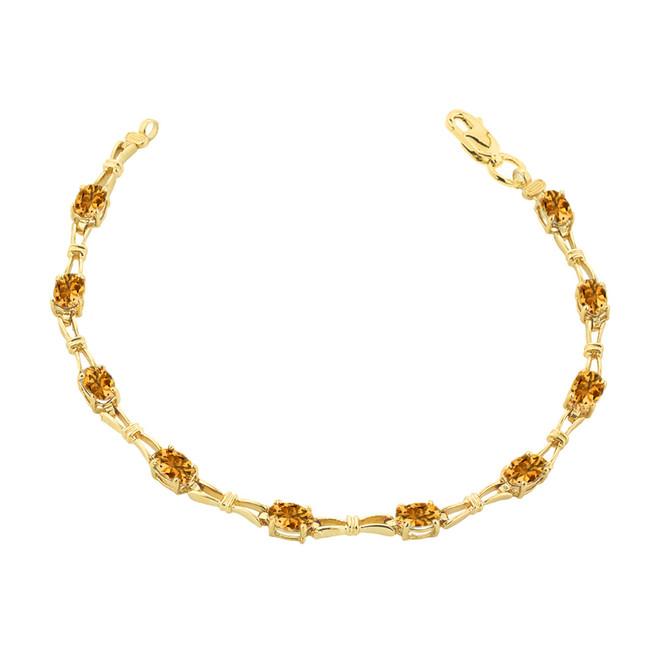 Citrine Gemstone Tennis Bracelet in Yellow Gold