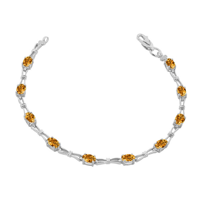 Citrine  Gemstone Tennis Bracelet in Sterling Silver
