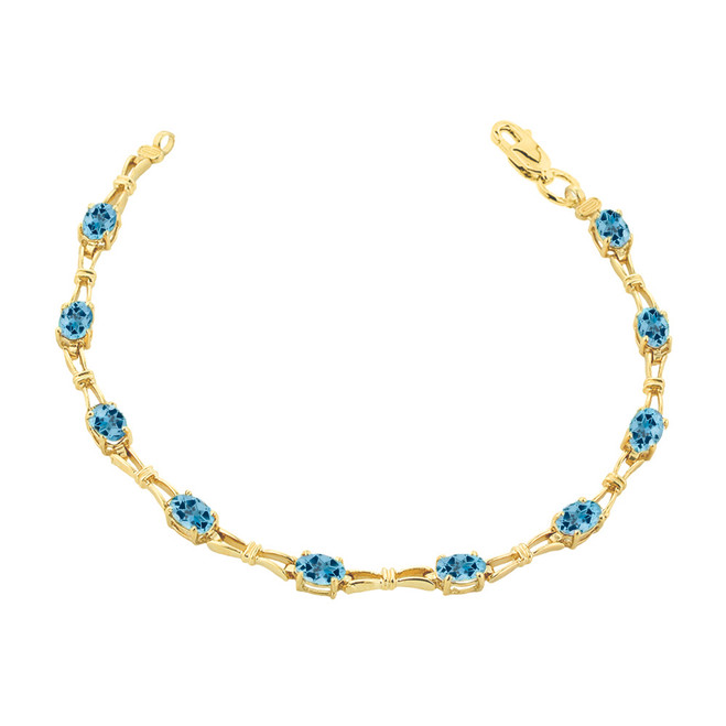 Blue Topaz Gemstone Tennis Bracelet in Yellow Gold
