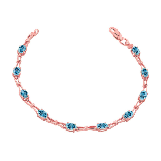 Blue Topaz Gemstone Tennis Bracelet in Rose Gold