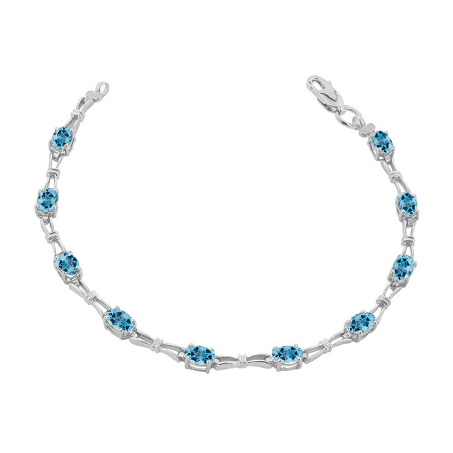 Blue Topaz Gemstone Tennis Bracelet in White Gold