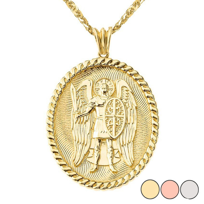 St Michael Protect Us Pendant Necklace in Gold (Yellow/Rose/White)