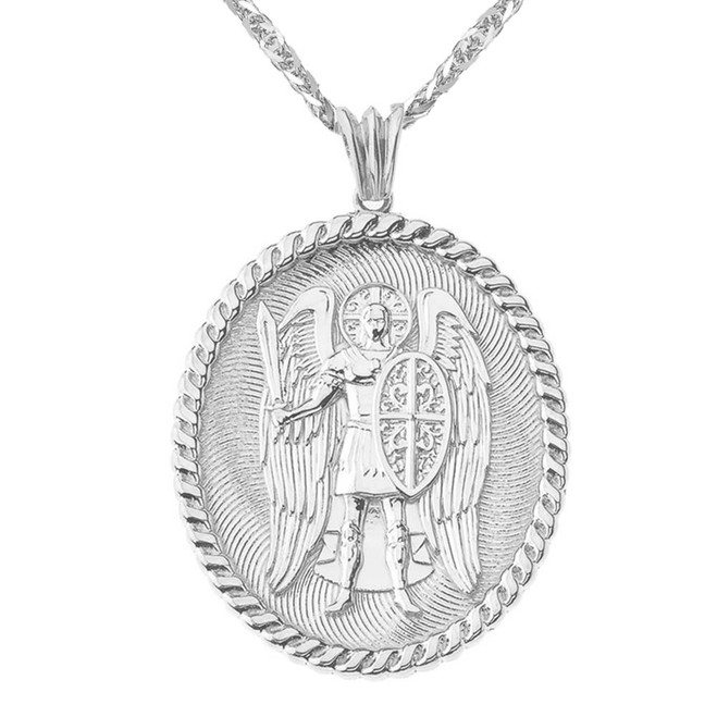 St Michael Protect Us Pendant Necklace in White Gold