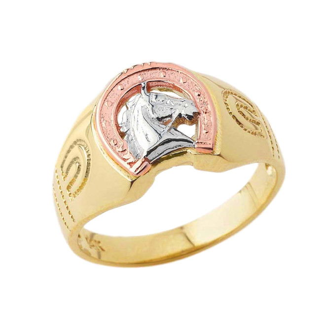 Lucky Horseshoe Statement Ring in Tri-Tone Yellow Gold