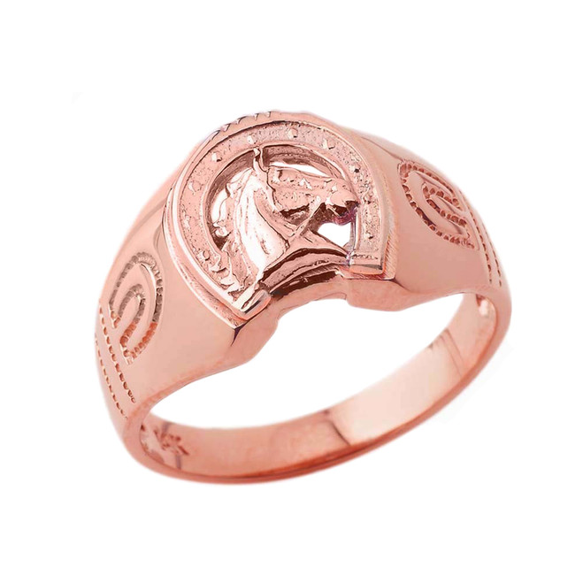 Lucky Horseshoe Statement Ring in Rose Gold