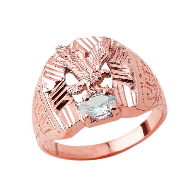 Soaring Eagle Lucky Horseshoe Statement Ring in Rose Gold with CZ