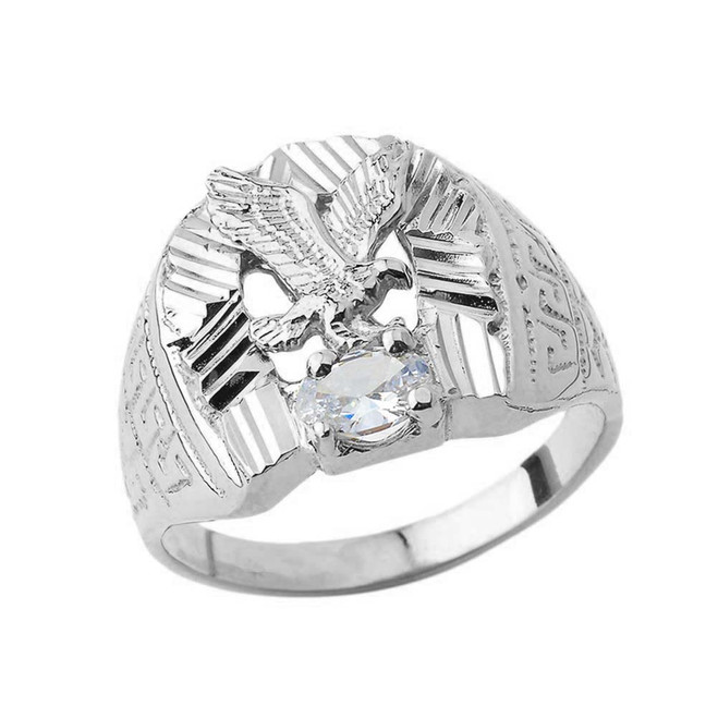 Soaring Eagle Lucky Horseshoe Statement Ring in White Gold with CZ