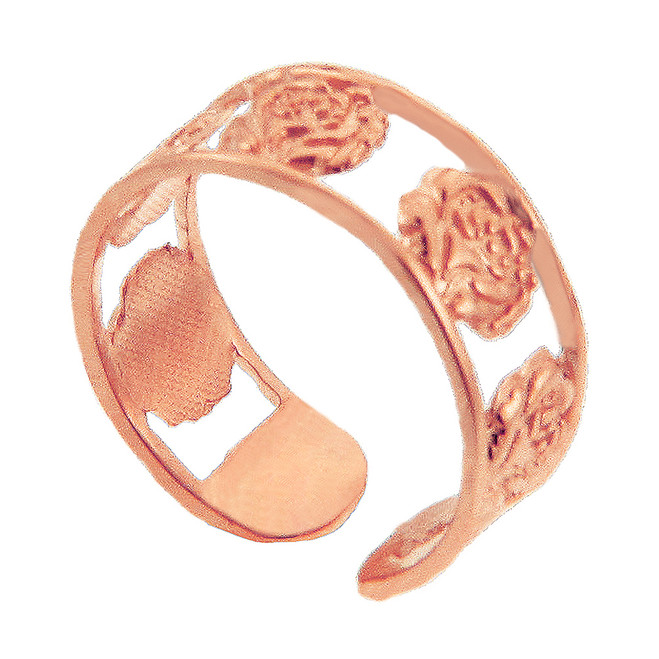 Rose Gold Roses Toe Ring