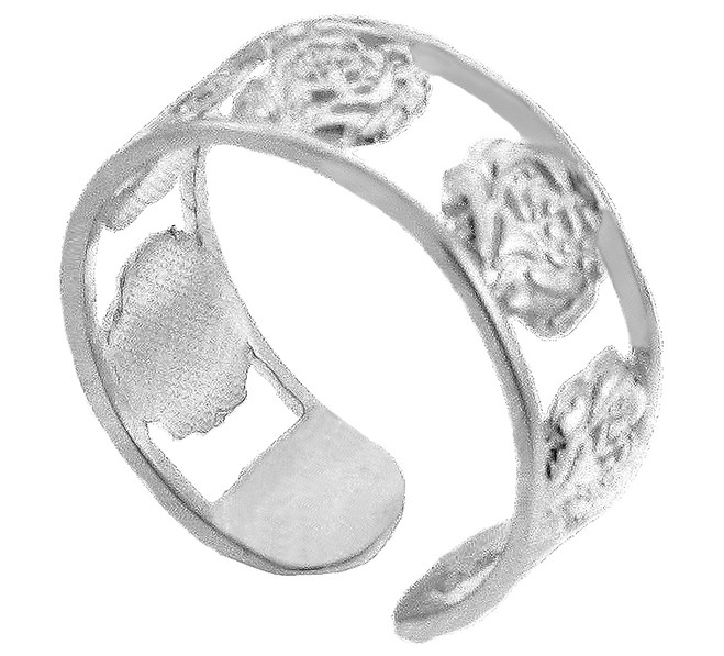 Solid White Gold Roses Toe Ring