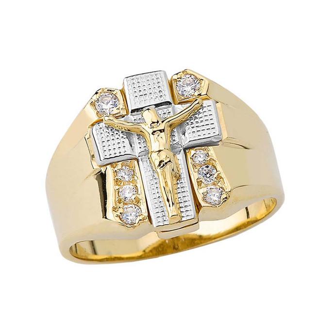 Bold Diamond Crucifix Ring in Two Tone Yellow Gold