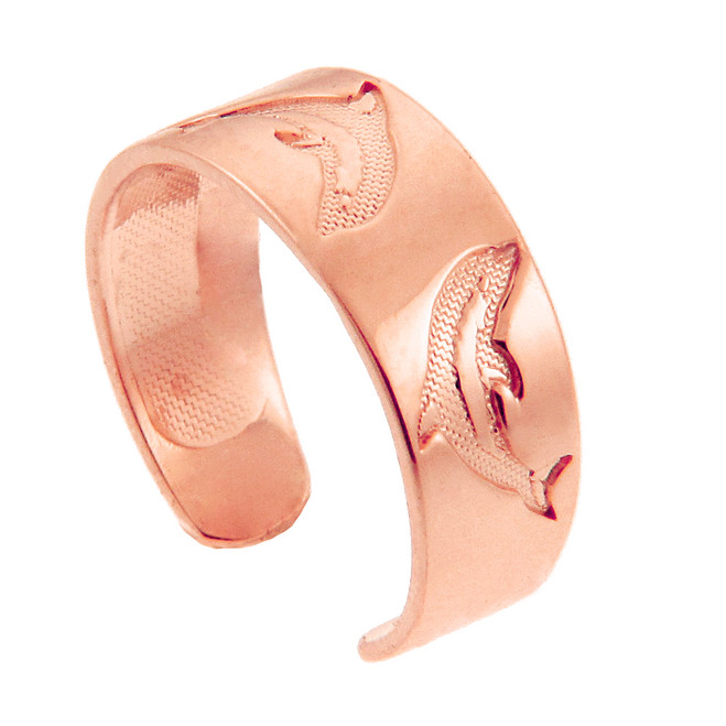 Dolphin Rose Gold Toe Ring