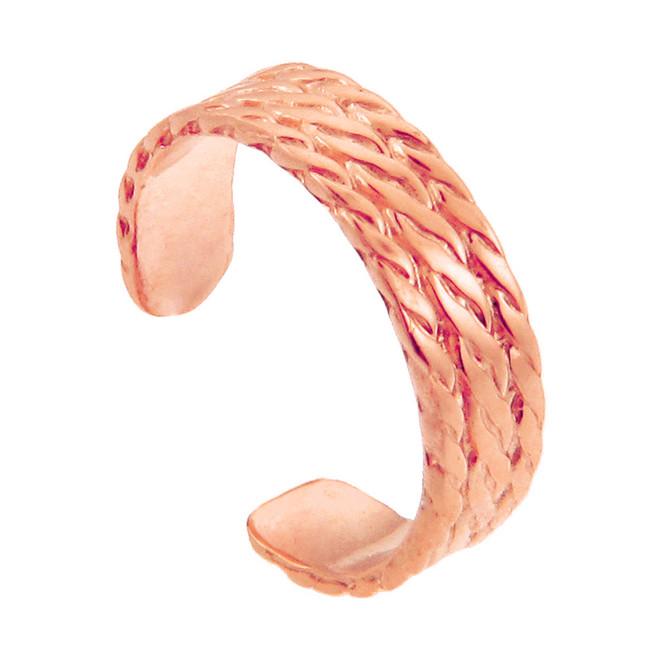 Rose Gold Bold Milgrain Toe Ring