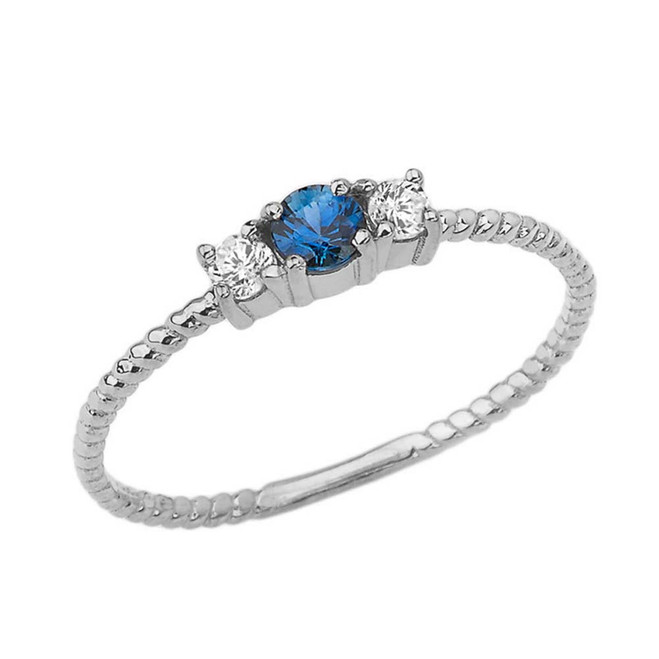 Chic Genuine Sapphire & White Topaz Roped Ring in White Gold