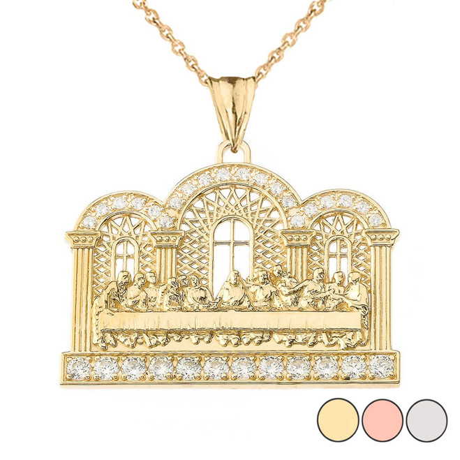 Diamond The Last Supper Pendant Necklace in Gold (Yellow/Rose/White)