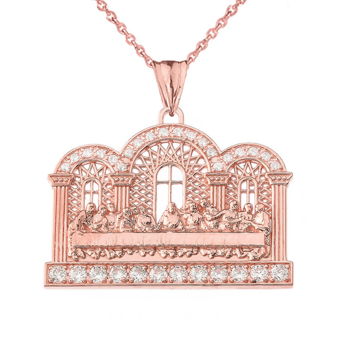 Diamond The Last Supper Pendant Necklace in Rose Gold