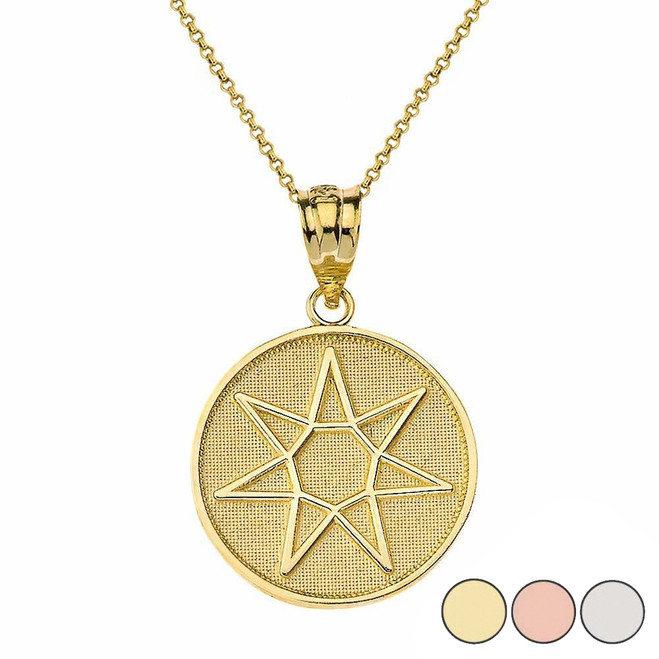 Wiccan Heptagram Faery Star Circle Pendant Necklace in Gold (Yellow/Rose/White)