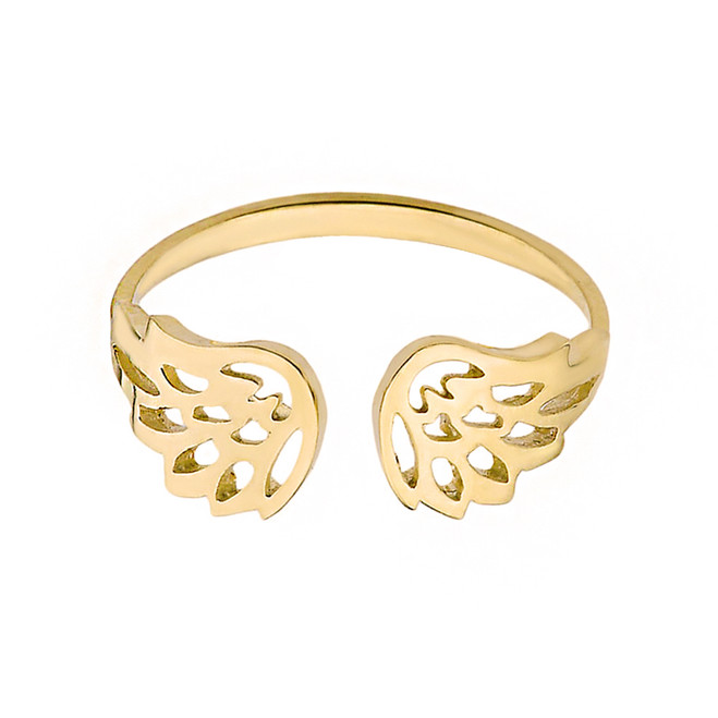 Solid Yellow Gold Dainty Filigree Angel Wings Adjustable Ring