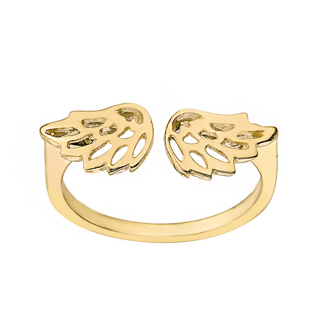 Solid Yellow Gold Filigree Angel Wings Adjustable Ring