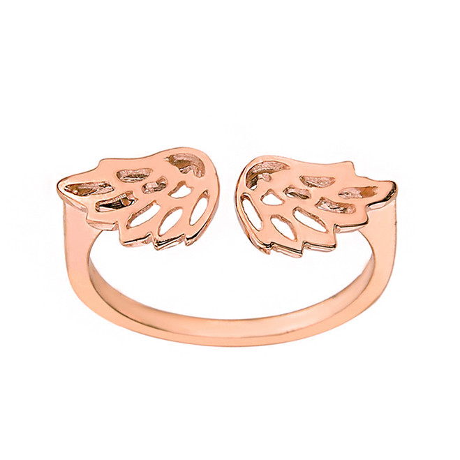 Solid Rose Gold Filigree Angel Wings Adjustable Ring
