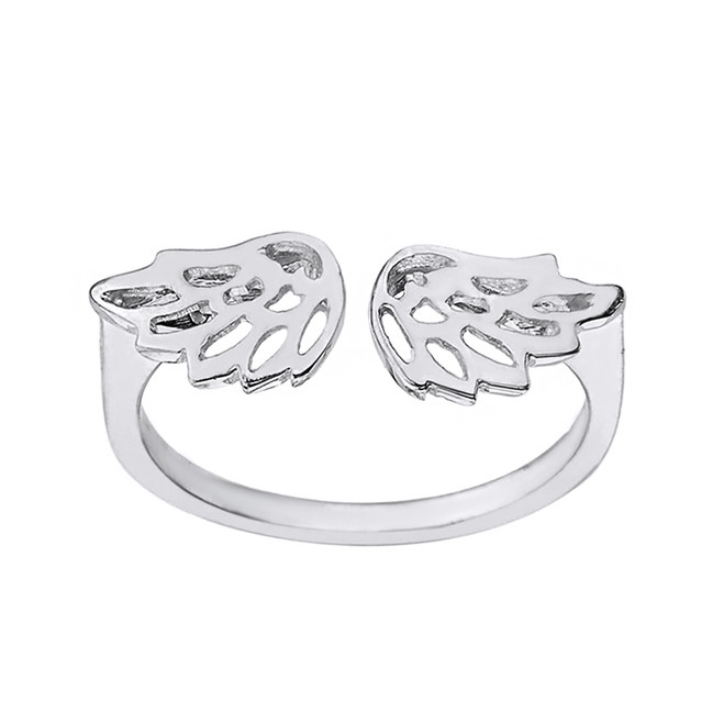 Solid White Gold Filigree Angel Wings Adjustable Ring