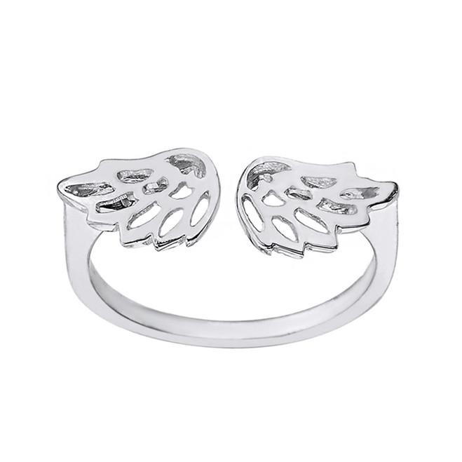 Sterling Silver Filigree Angel Wings Adjustable Ring