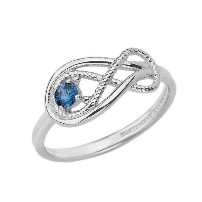 Genuine Sapphire Roped Infinity Ring in White Gold