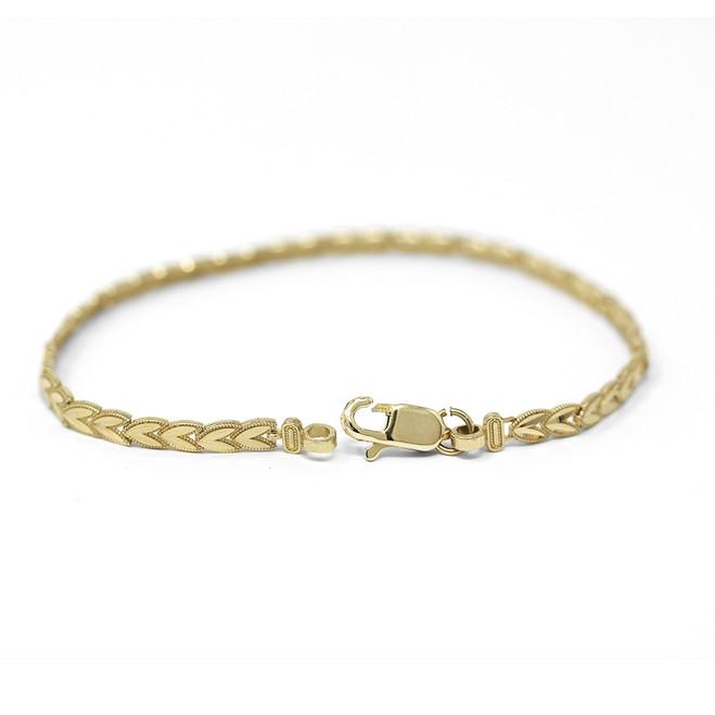 Solid Yellow Gold Chevron Leaf Link Sparkle Cut Women's Bracelet (3.81 mm)