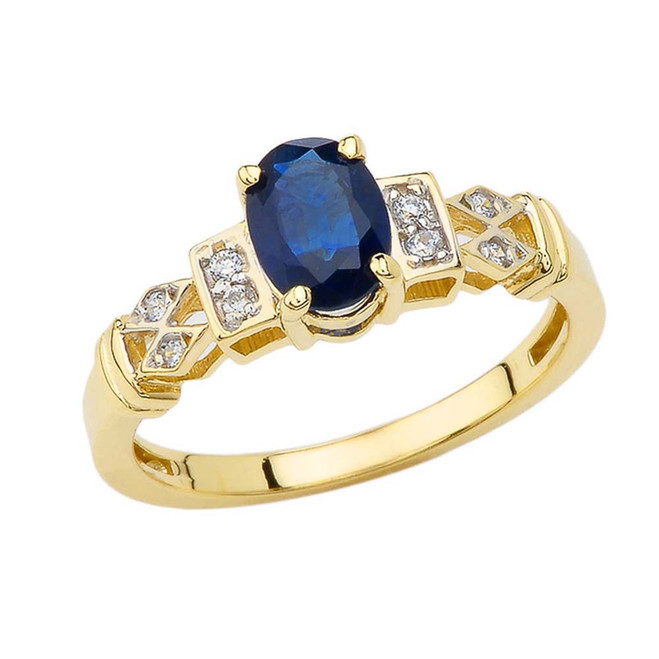 1920's Style Sapphire and Diamond Art Deco Ring  In Yellow Gold
