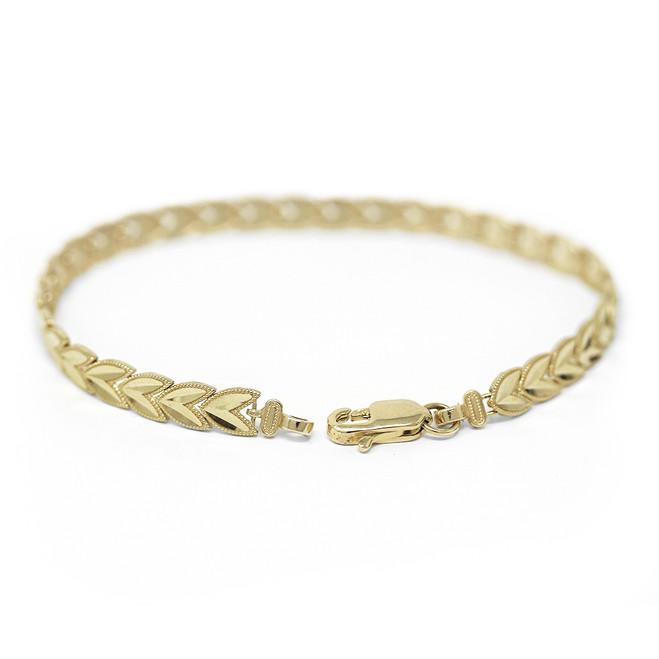Solid Yellow Gold Chevron Leaf Link Sparkle Cut Women's Bracelet (5.33 mm)